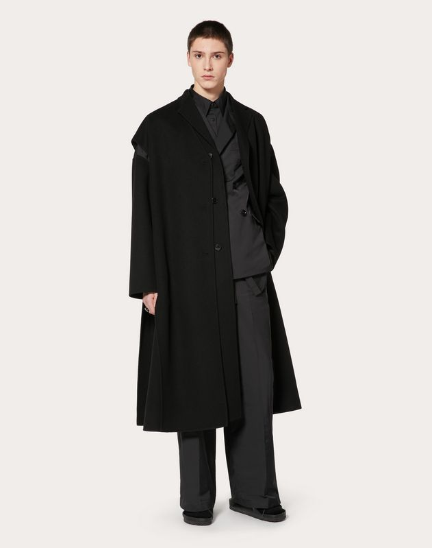 COAT IN DOUBLE-LAYER WOOL AND NYLON