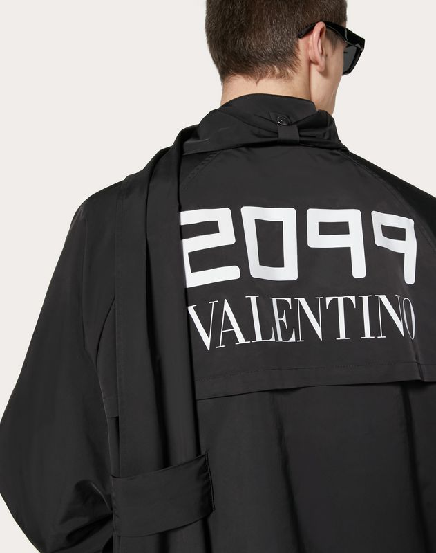 PEA COAT WITH 2099 VALENTINO PRINT