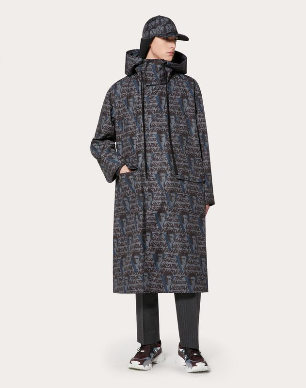 PEA COAT WITH VVV PRINT