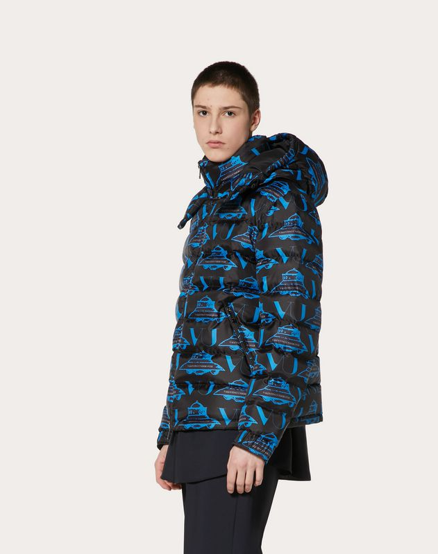 DOWN COAT WITH UFO VU PRINT