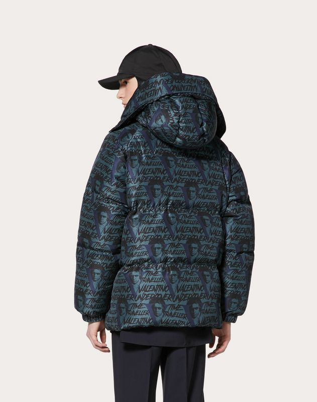 DOWN COAT WITH VVV PRINT