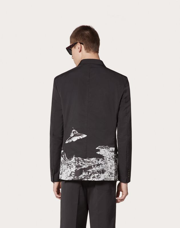 DOUBLE-BREASTED JACKET WITH TIME TRAVELLER PRINT