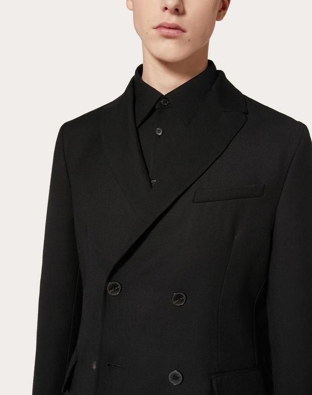 DOUBLE-BREASTED JACKET IN DOUBLE-LAYER WOOL
