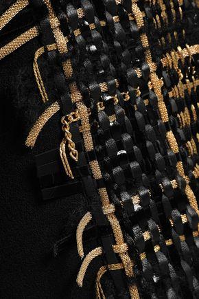 BALMAIN レザートリム 装飾付き ウール&シルク混 ジャケット