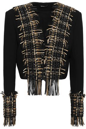 BALMAIN Leather-trimmed embellished wool and silk-blend jacket