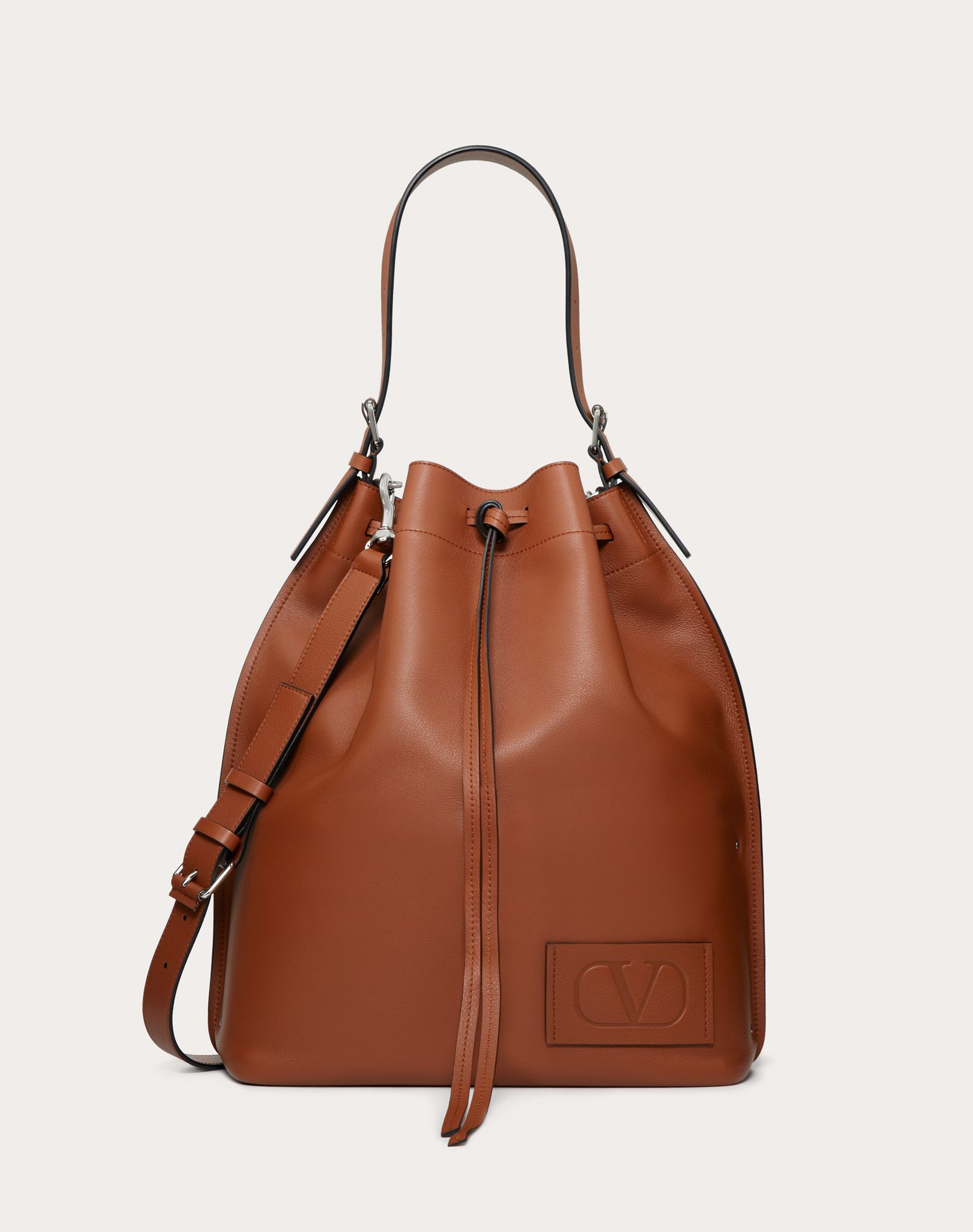 Leather VLOGO bucket bag