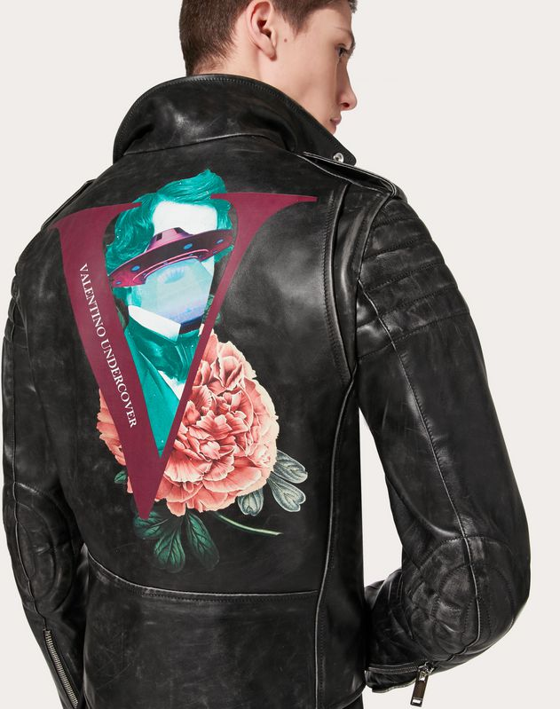 LEATHER BIKER JACKET WITH V FACE ROSE PRINT