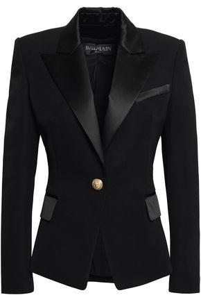 BALMAIN Satin-trimmed wool-twill blazer