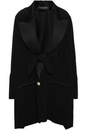 BALMAIN Oversize satin-trimmed crepe jacket