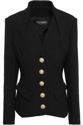 BALMAIN Button-detailed crepe jacket