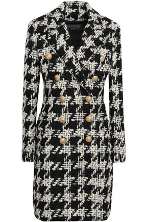 BALMAIN Double-breasted houndstooth wool-blend tweed coat