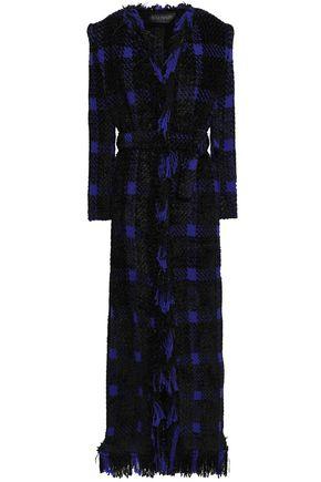 BALMAIN Fringed checked wool-blend tweed coat