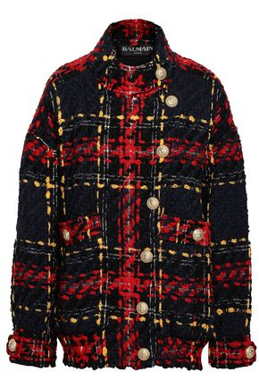 BALMAIN Wool-blend tweed bomber jacket
