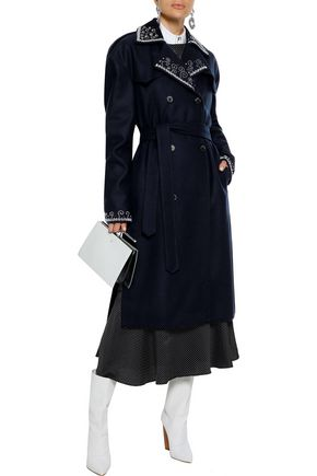 Magda Butrym Coats MAGDA BUTRYM WOMAN AMUR BEAD-EMBELLISHED WOOL-BLEND TRENCH COAT MIDNIGHT BLUE