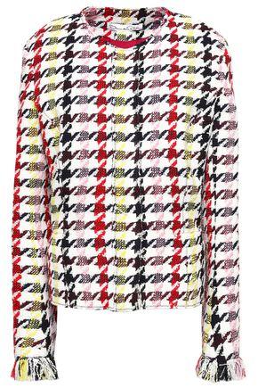 OSCAR DE LA RENTA Frayed houndstooth wool-blend jacket