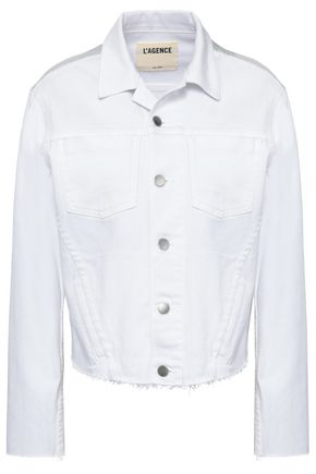 L'AGENCE Janelle cropped iridescent-paneled denim jacket