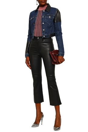 McQ Alexander McQueen Cropped faux leather-paneled denim jacket
