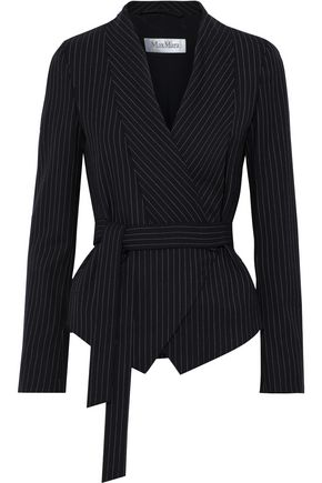MAX MARA Pinstriped wool-blend twill wrap blazer