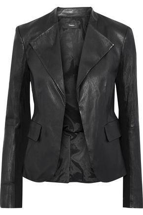 THEORY Bristol jersey-paneled peplum leather jacket
