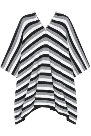 SONIA RYKIEL Zip-detailed striped cashmere poncho