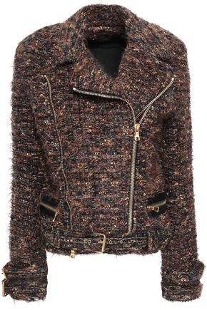 BALMAIN Metallic tweed biker jacket