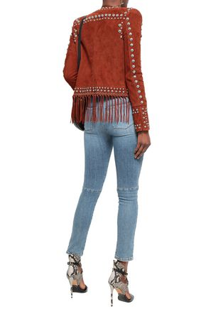 BALMAIN Fringed studded suede jacket