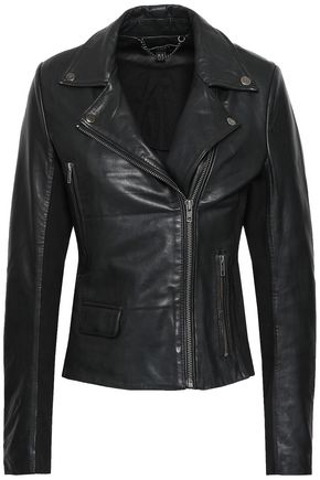 MUUBAA Consolida jersey-paneled leather biker jacket