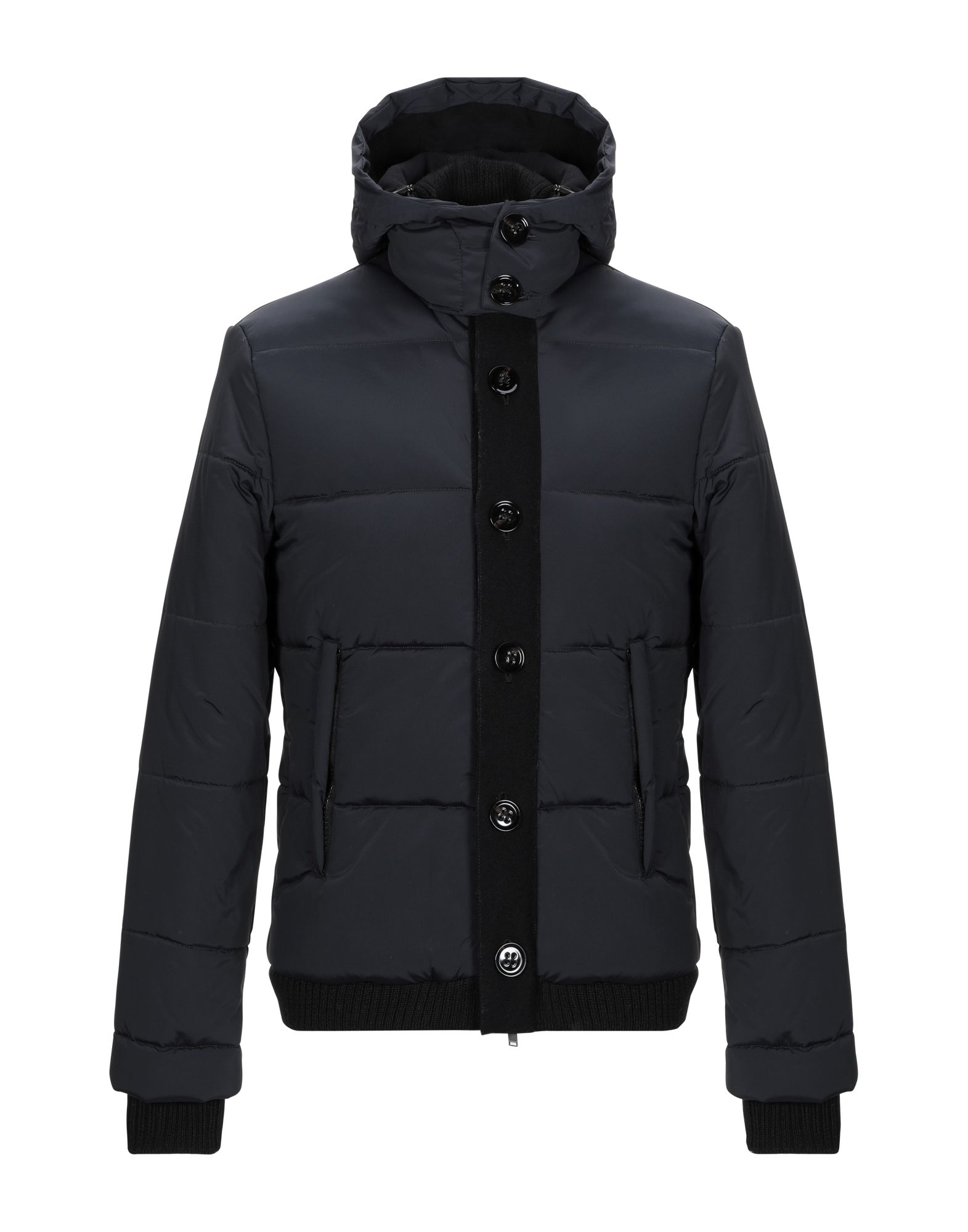 DONDUP Synthetic Down Jackets. quilted, techno fabric, logo, leather applications, basic solid color, single-breasted, button, zip, hooded collar, multipockets, long sleeves, stretch, contains non-textile parts of animal origin, internal padding. 92% Polyamide, 8% Elastane