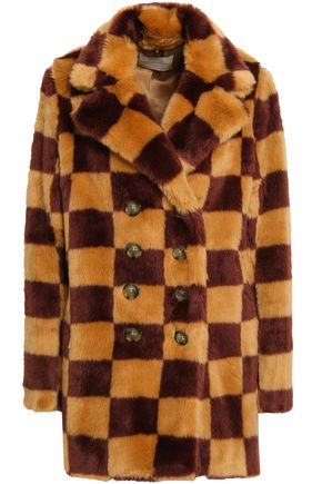 MARCO DE VINCENZO Double-breasted checked faux fur coat