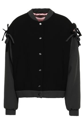 MARCO DE VINCENZO Bow-detailed wool-crepe bomber jacket