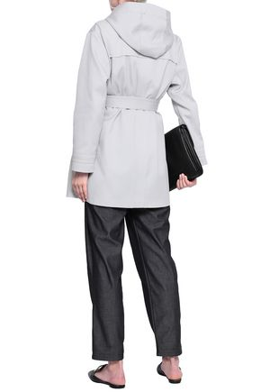 EMPORIO ARMANI Belted twill hooded jacket