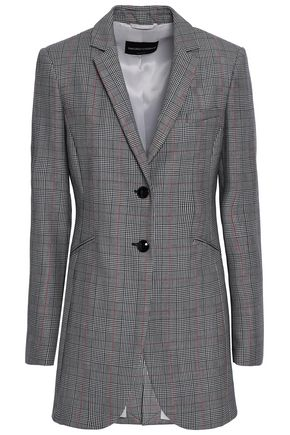 EMPORIO ARMANI Prince of Wales checked wool and mohair-blend blazer