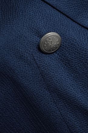 EMPORIO ARMANI Double-breasted hammered silk-satin blazer