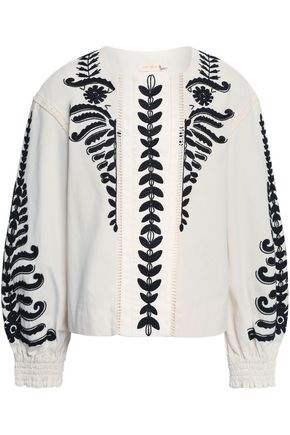 TORY BURCH Beaded embroidered cotton-canvas jacket