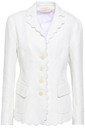 TORY BURCH Scalloped cotton-jacquard blazer