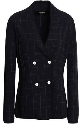 GIORGIO ARMANI Double-breasted checked crepe blazer