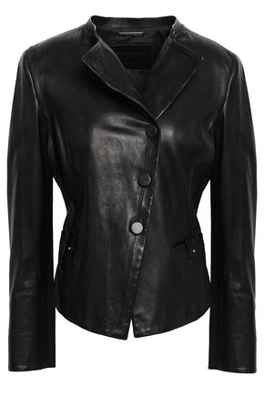 GIORGIO ARMANI Button-detailed leather jacket