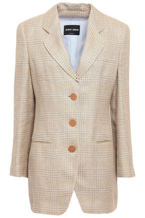 GIORGIO ARMANI Prince of Wales checked linen and silk-blend blazer