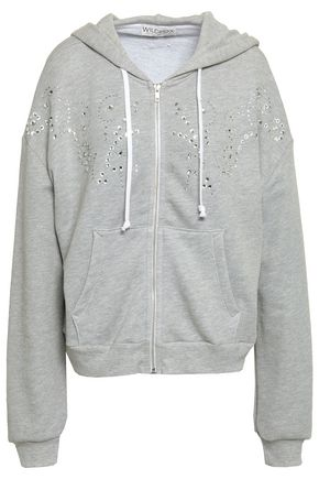 WILDFOX Crystal-embellished mélange cotton-blend hooded jacket