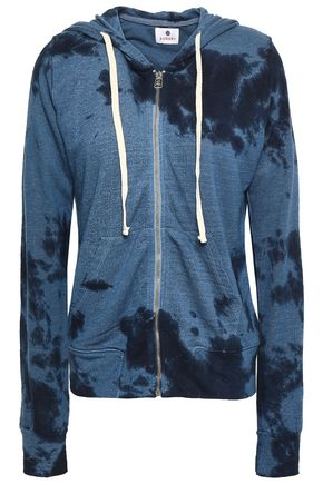 SUNDRY Embroidered tie-dyed French terry hooded sweatshirt