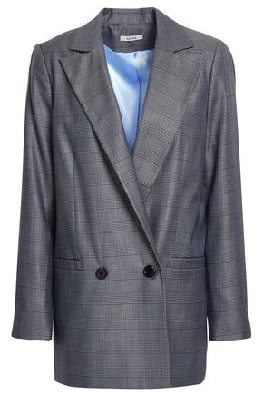 GANNI Merkel double-breasted Prince of Wales silk and wool-blend blazer