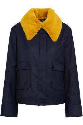 BAUM UND PFERDGARTEN Faux fur-trimmed twill jacket