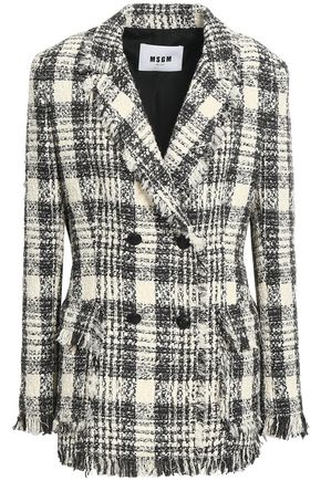 MSGM Double-breasted frayed cotton-blend tweed blazer