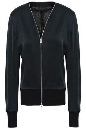 RAG & BONE Paneled satin-crepe and knitted jacket