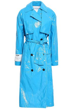 MSGM Belted vinyl trench coat