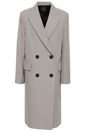 THEORY Double-breasted houndstooth cotton and wool-blend coat