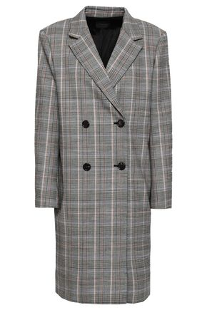 THEORY Double-breasted checked wool-blend coat
