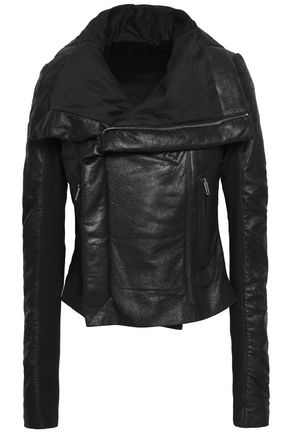 RICK OWENS Paneled cracked-leather biker jacket