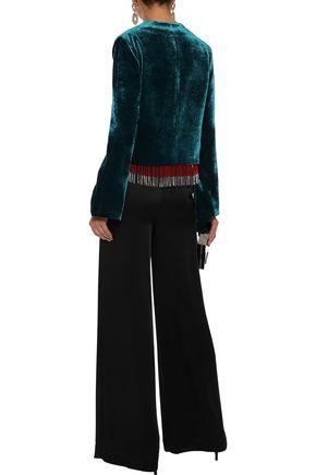 GALVAN  London Moss fringe-trimmed velvet jacket