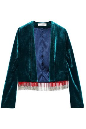 GALVAN  London Moss fringe-trimmed velvet jacket